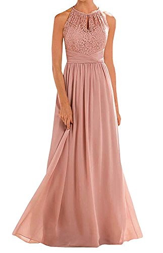 Annadress Women's Halter Lace A-line Chiffon Floor-Length Bridesmaid Dress Blush -