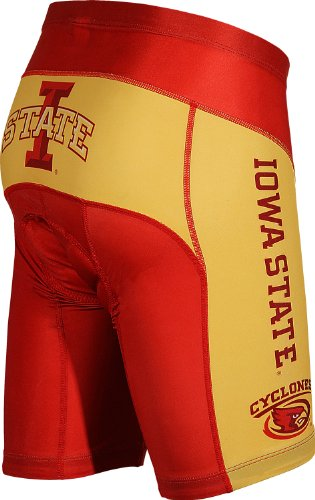 Adrenaline Promotions NCAA Iowa State Men's Cycling Shorts, Red/Gold, Large