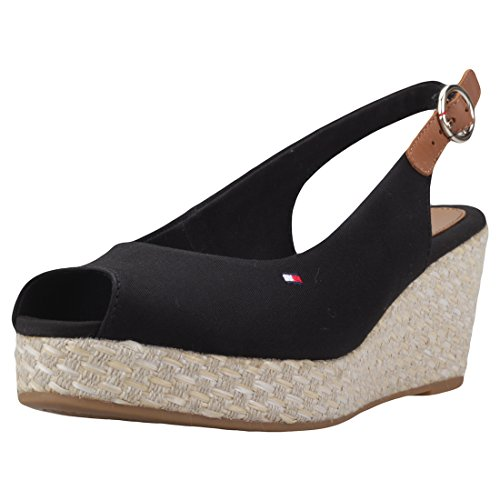 Tommy Hilfiger Iconic Elba Basic Sling Back Womens Wedges Black - 37 EU by Tommy Hilfiger