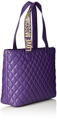 Borsa shopper love moschino nappa pu trap JC4214PP04KA0000 similpelle nero fw 17/18 Morado (Violet)