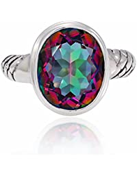 925 Sterling Silver Fire Mystic Topaz Oval 13mm Band Ring - Nickle Free