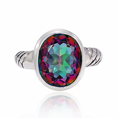 Chuvora 925 Sterling Silver Fire Mystic Topaz Oval 13mm Band Ring – Nickle Free