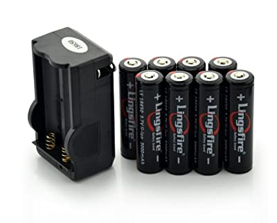 LingsFire® 8Pcs 3.7V 18650 3000mah Rechargeable Lithium Battery with Battery Charger