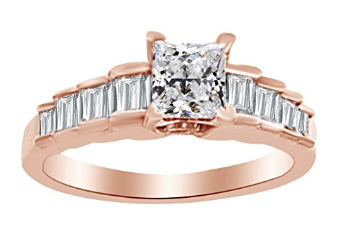 - Baguette Cut White Natural Diamond Semi Mount Engagement Ring In 14k Rose Gold (0.38 cttw) Ring Size-4