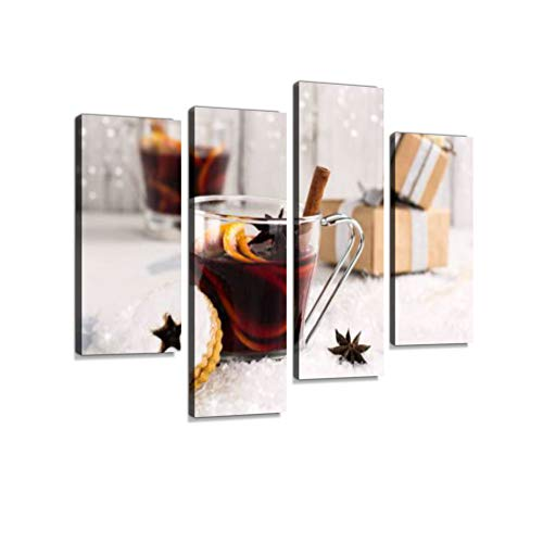 Christmas Mulled Wine Canvas Wall Art Hanging Paintings Modern Artwork Abstract Picture Prints Home Decoration Gift Unique Designed Framed 4 Panel