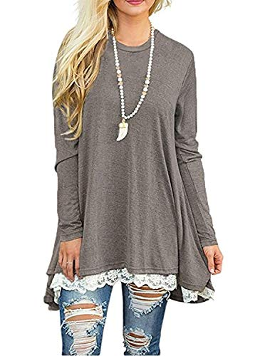 Blouses for Women Long Sleeve T Shirt Tunic Ladies Tops Sweaters for Work Grey,L