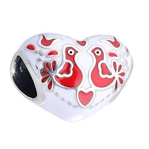 Frozen Love birds - Red & White Enamel Heart Sterling Silver Charm Bead S925, Love Heart Enamel charm, Folk Art inspired Love Charm Pendant, Folklore Jewelry, fits - Charm Pandora Lovebird
