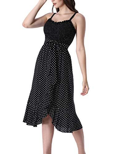 VFSHOW Womens Black and White Dot Ruffle Neck Spaghetti Strap Smocked Pockets Casual Beach Swing A-Line Midi Dress G2969 BLK XL