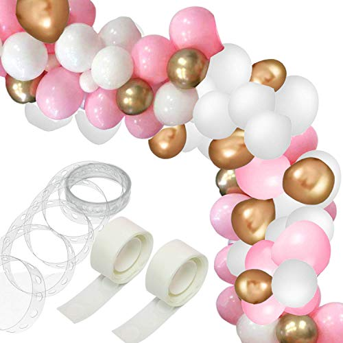 123 pcs Balloon Arch & Garland Kit - 16Ft Long Pink White Gold Balloons Pack for Girl Birthday Baby Shower Wedding Bachelorette Party Decorations]()