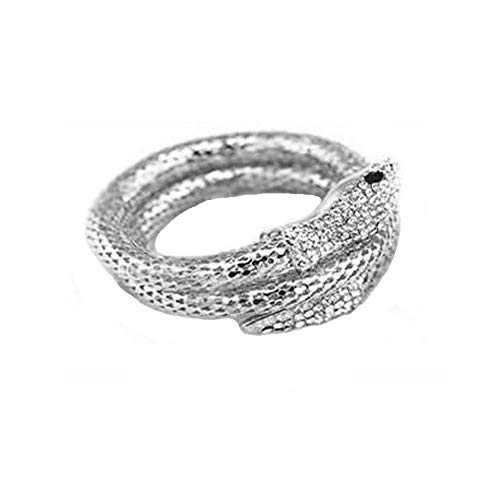 (WLLAY Retro Rhinestone Curved Snake Wrap Cuff Bangle Bracelet Women Punk Stretchy Snake Bracelet for Party (Silver))