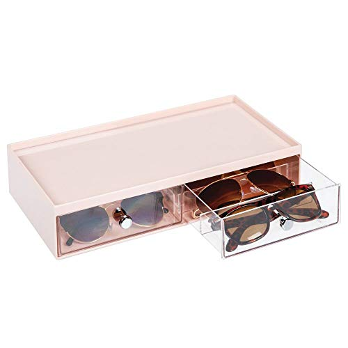 mDesign Wide Stackable Plastic Eye Glass Storage Organizer Box Holder for Sunglasses, Reading Glasses, Accessories - 2 Divided Drawers, Chrome Pulls - Light Pink/Clear