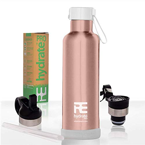 Rehydrate Pro (Rosegold 25oz Double-Insulated Stainless Steel Water Vacuum Bottle Flask -Compatible to Swell Yeti Hydro and Klean Kanteen for Hot or Cold Drinks. 25 Oz + Bonus Flip N Sip Sports Cap