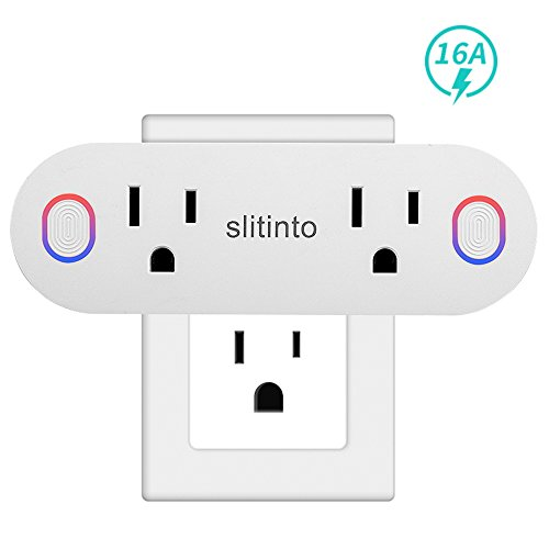 Price comparison product image Smart Plug, Slitinto Dual Mini Wi-Fi Outlets Can Remote Control Individually, Works with Alexa Echo/Google Home/IFTTT, Smart Socket with Energy Monitoring and Timer, No Hub Required, ETL Listed-1 Pack