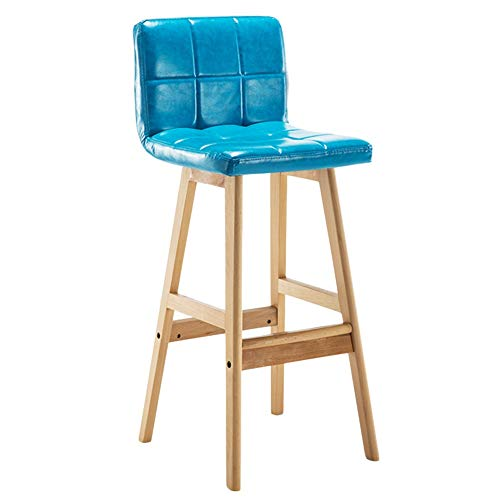(CAIJUN Bar Stool Household Solid Wood Frame PU Fabric Waterproof Non-Slip Leisure Nordic Style, 7 Colors Dual-use (Color : Blue, Size :)