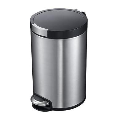 Household Essentials EKO 92250-1 Artistic 1.25 Gallon Stainless Steel Round Step Trash Can with Lid | 5 Liter Metal Waste Bin