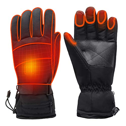 Rechargeable Battery Heated Gloves for Women Men, Electric Warm Thermal Gloves for Hiking Skiing Cycling Climbing, Waterproof Heated Texting Gloves Heat 3 Smart Gloves, Hand Warmer Winter Gloves ()