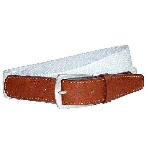 CrookhornDavis Dress Belt for Men, Cotton, Elastic, and Leather Accessories, 42, White (Band Cincture)