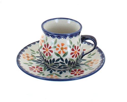 Blue Rose Polish Pottery Garden Bouquet Espresso Cup & -