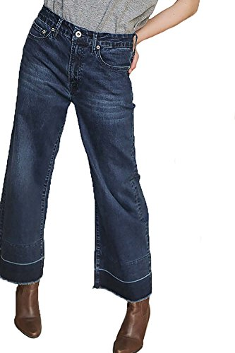 Leg Rise Mid Wide Jeans (Umgee Women's Mid Rise Five Pocket Dark Wash Stretch Wide Leg Jeans With Raw Unfinished Hem)