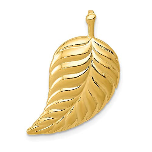 - 14k Yellow Gold Leaf Necklace Chain Slide Pendant Charm Outdoor Nature Fine Jewelry Gifts For Women For Her