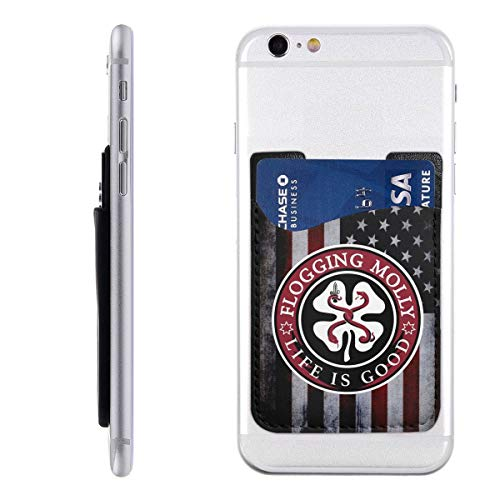 Flogging Molly Tour 2019 Phone Holder Backpack Wallet,PU 3M Adhesive Stick-on ID Credit Card Wallet Phone Case Pouch Sleeve Pocket Compatible Pocket Pocket Sleeve