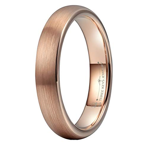 THREE KEYS JEWELRY 4mm Womens Tungsten Wedding Ring 18K Rose Gold Plated Brushed Wedding Band Engagement Ring Size 9.5