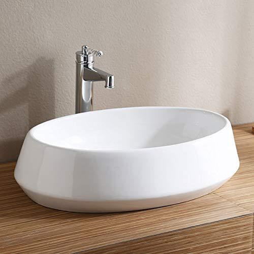 Modern Oval Porcelain Above Counter White Ceramic Bathroom Vessel Sink (E-CL-1298)