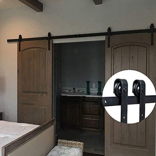 Bonnlo 13 Ft Double Door J Style Sliding Barn Door Hardware, No Noise Steel  Barn