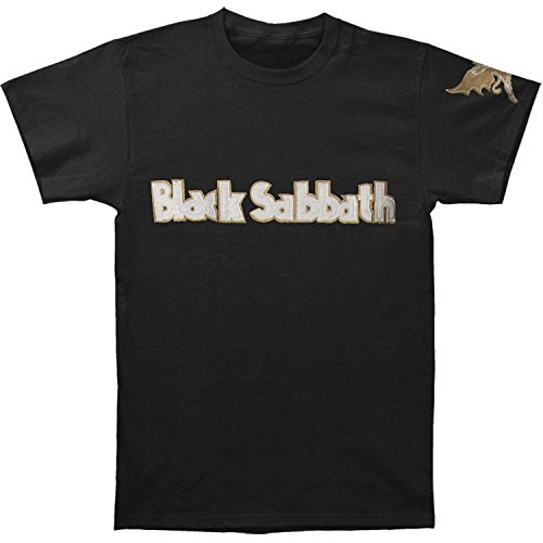 (Rockoff Trade Black Sabbath Men's Logo & Daemon Applique Slub T-shirt, Black)