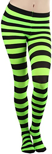 ToBeInStyle Women's Full Footed Wide Striped Tights - Black And Neongreen