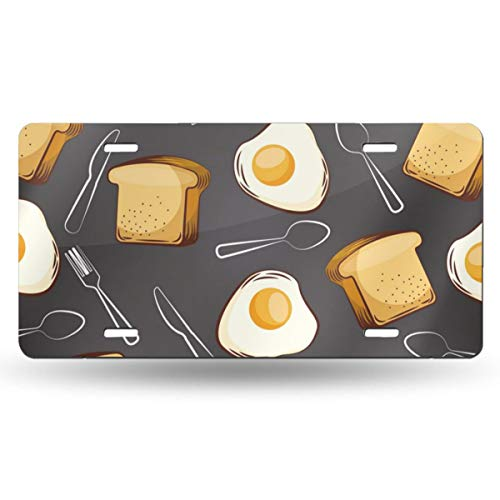 (Jeepmother Fried Eggs Bread and Fork Spoon 612inchs Feel Metal Tin Sign Plaque for Home,Bathroom and Bar Wall Decor Car Vehicle License Plate Souvenir Car Decoration)