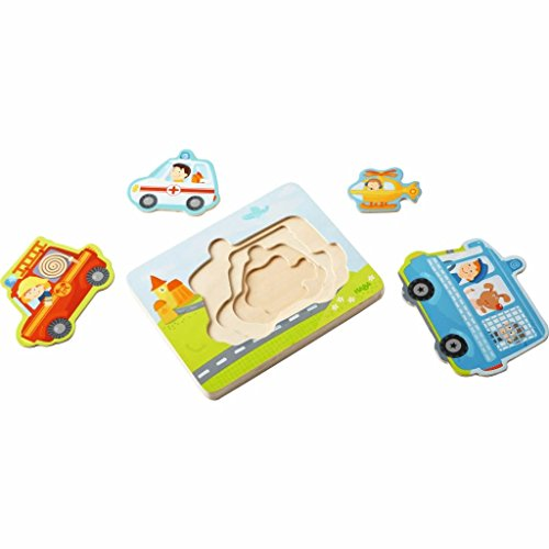 HABA Emergency Call 4 Piece Layered Wooden Puzzle for Ages 12 Months and Up (Haba Jigsaw Puzzles)