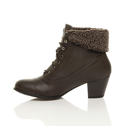 Womens up Brown Ankle Heel Vintage Boots Cuff Size Ladies Lace Pixie Winter Fur Fur mid Matte wRIRqr