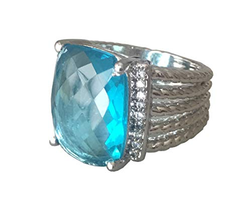 (Gempara Designer Inspired Twisted Cable 20x16mm Blue Topaz Checkerboard Cushion Ring (7))