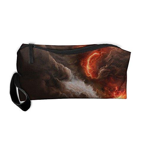 Homlife Portable Travel Cosmetic Toiletry Clutch Bag Organizer Case Oxford Artistic Volcano Eruption Artwork Storage Pouch (Oxford Volcano)