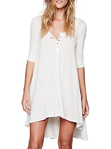 Bessla Women Half Sleeve High Low Loose Cotton Casual T-shirt Tops Tee Dress