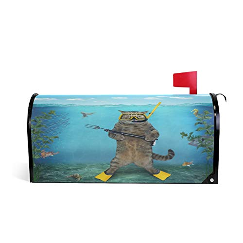 (Wamika Cat Diver Spear Gun Sea Letter Magnetic Mailbox Cover Post Animal Under Water Oversized Home Garden Residence Yard Outdoor Decor )