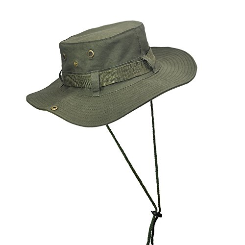 ELUTONG Wide Brimmed Hat Car Jungle Sun Fishing Beach Hat, Outdoor Wide Brim Breathable Hunting Sun Hat (Military Green)