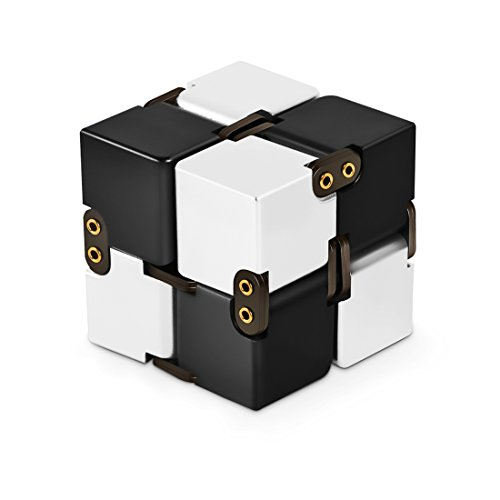 Metal Aluminum Alloy Infinity Cube Fidget Finger Toy - Pocket Size - Infinite Cube Relaxation Stress Reducer for ADD, ADHD, Anxiety, Autism Adult & Kids, Ultra Durable (Silver-Black) - Infinity Desktops