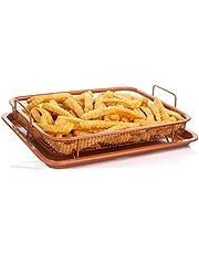 مقلاة هوائية نحاسية لصنع الخبز المقرمش، وعاء نحاسي فاخر متعدد الاغراض مع صنية شبكية للشوى غير لاصقة، تصميم الوعاء مربع الشكل وغير لاصق وامن للفرن