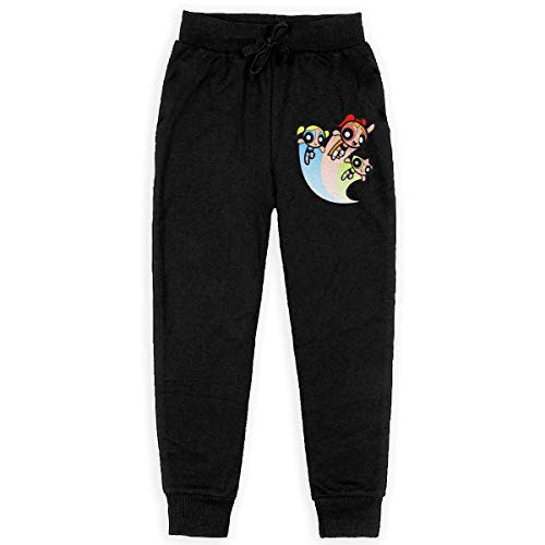 LETE Big Boys' Girls' Casual Jogger Soft Training Pants Elastic Waist, The Powerpuff Girls -