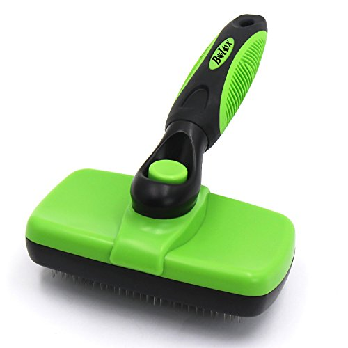 Bolux Pet Grooming Brush! Self Cleaning Slicker Brushes. Best Shedding Tools for Grooming Cats And Dogs with Long Thick Hair (Green)
