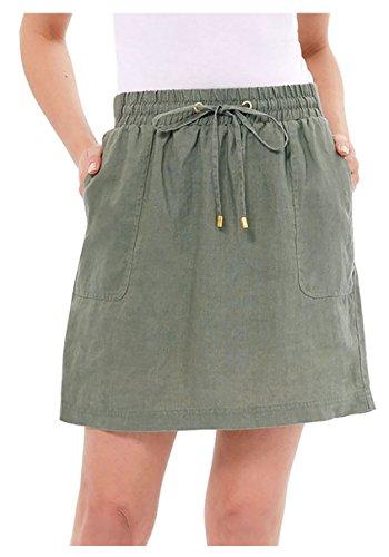 Ellen Tracy Women's Linen Skort (Small, Caper)