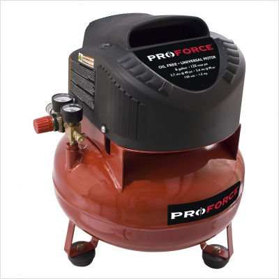 Pro-Force VNF1080620 6-Gallon Oil Free Pancake Air Compressor with Extra...