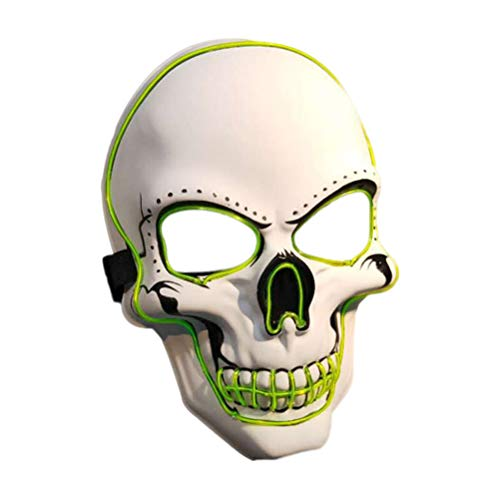 FENICAL Halloween Cosplay Scary Mask Skull Head LED Glowing Costumes Accessory Creepy Horrible Ghost Face Prop for Masquerade Make-up Party (no Battery) -