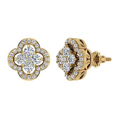 14K Yellow Gold Diamond Earrings Loop Style Flower Cluster Screw back