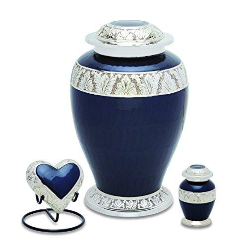 UrnsDirect2U 7529-S Berskhire Silver Black Cremation Urn Set
