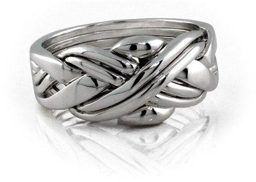 Sterling Silver Puzzle Ring 6SU - Size: 8 (Claddagh Puzzle Ring)