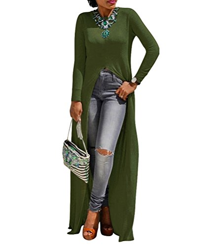 Womens Sexy High Front Split Long Sleeve Crewneck Clubwear Cocktail Maxi Dress Green ()