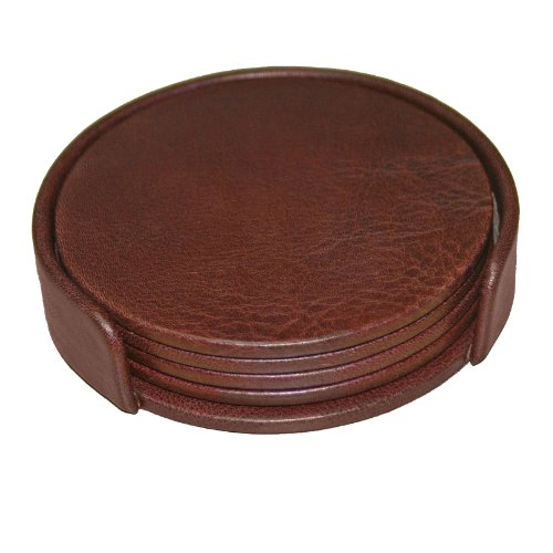 Dacasso Mocha Leather 4-Round Coaster Set